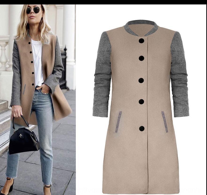 CFD3p осени и зимы пальто шерсти Wool случайный подбор цвета с длинным рукавом один грудью кардиган пальто шерстяное