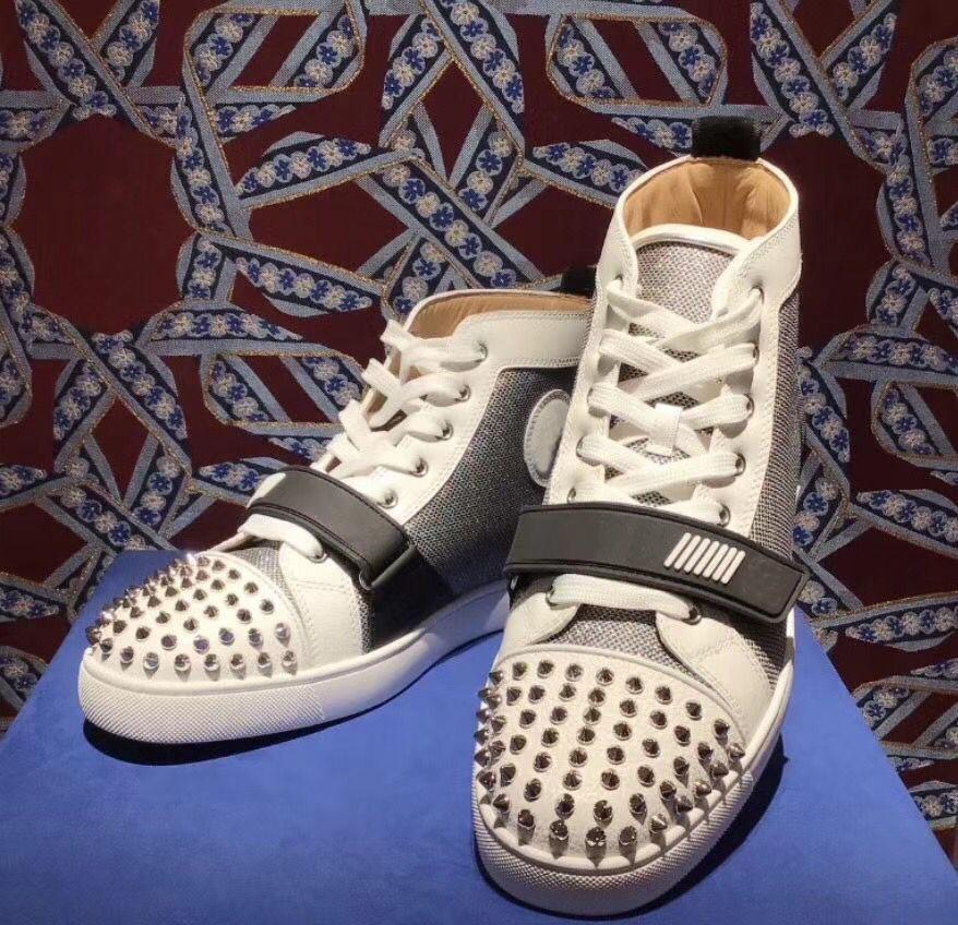 Erkekler Kadınlar Günlük Yürüyüş Lüks Tasarımcı Dikenler İndirim Ayakkabı Daireler Zarif Markalar Yüksek Top Kırmızı Bottoms Sneakers Ayakkabı