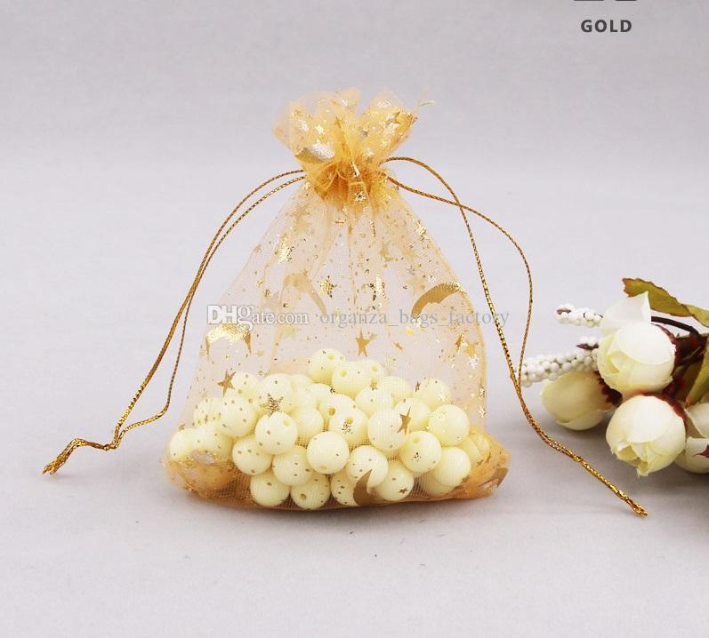 100 pçs / lote ouro Moon Star Organza Favor Sacos de cordão 4sizes malotas de embalagens de jóias de casamento, bom presente de sacos fábrica