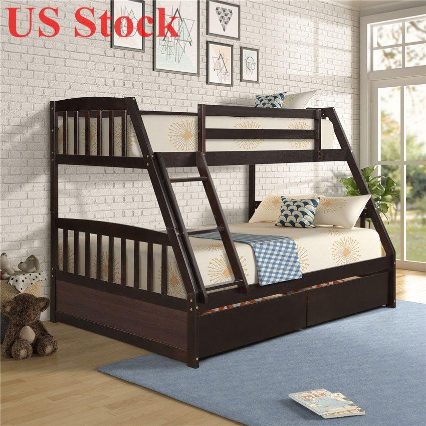 US сток с твердой древесиной Твин над полной двухъярусной кроватью с двумя ящиками для хранения современных общежитий домой жилые кровати с лестницей Fast Shipping SH000092PAA