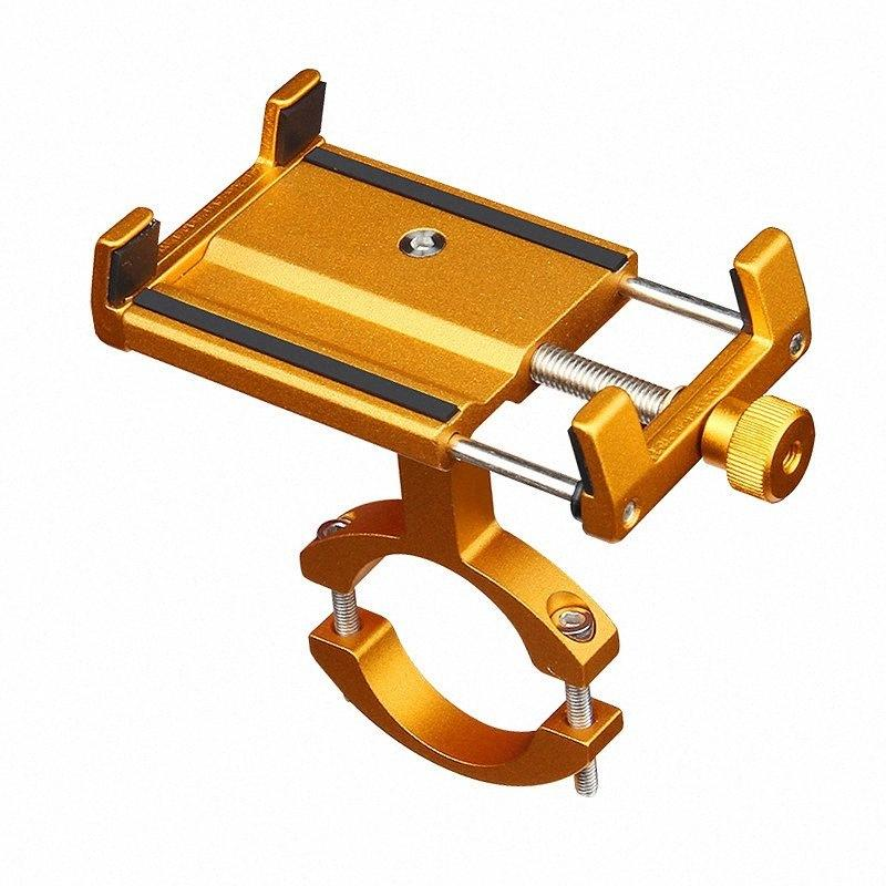 Aluminum Bicycle Phone Holder For 3.5-6.2 Inch Smartphone Adjustable Support Gps Bike Phone Stand Mount Bracket Gold S9Yt#