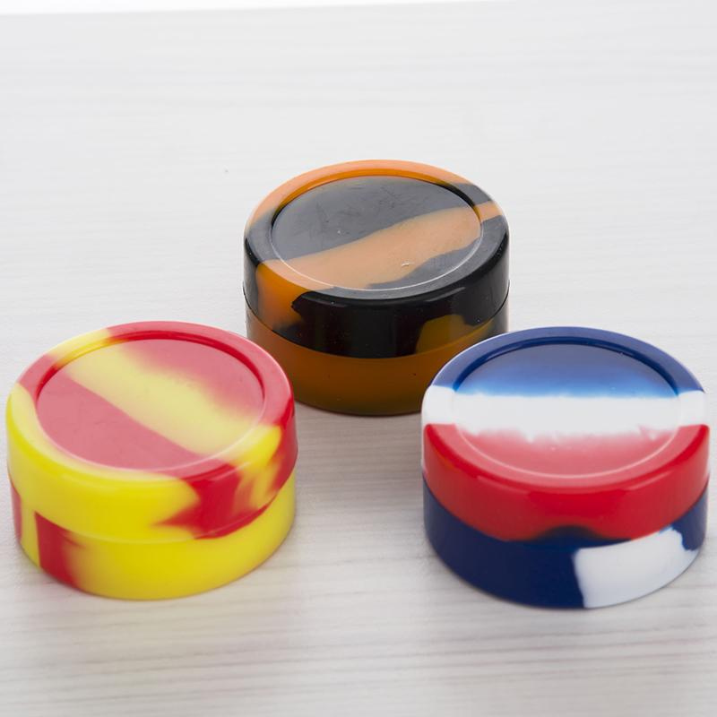 Capacity Of 22ML Silicon Container Jar for Dab Oil Rig Dry herb Wax Box Mixed Coloful free shipping