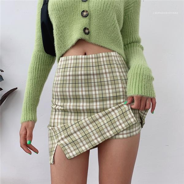 Designer saia Womens Voltar Zipper Abertura plaid saia com duas pequenas Frente Slits Forrado Plaid Mini Saias