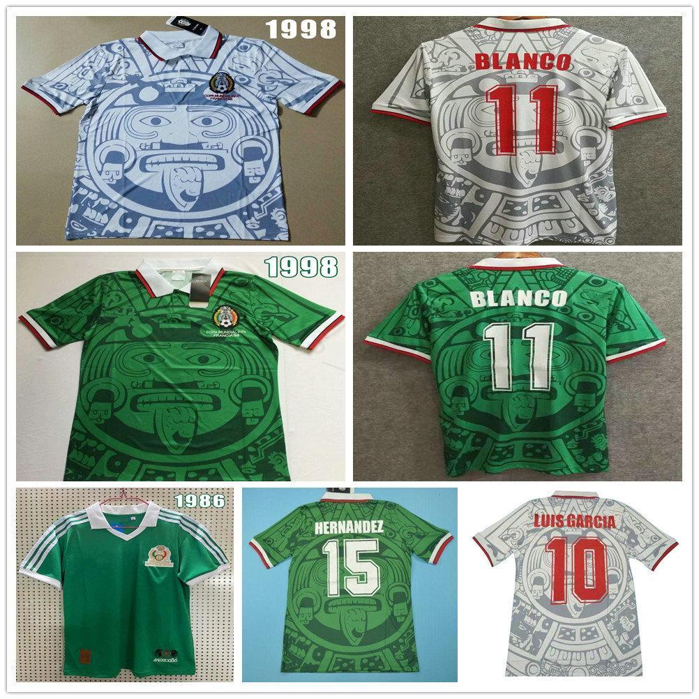 Mexico 1986 1998 Retro Soccer Jerseys Blanco Hernandez Ramirez Sanchez 86 98 Vintage Camisetas Classic Home Away Adult Football Shirt