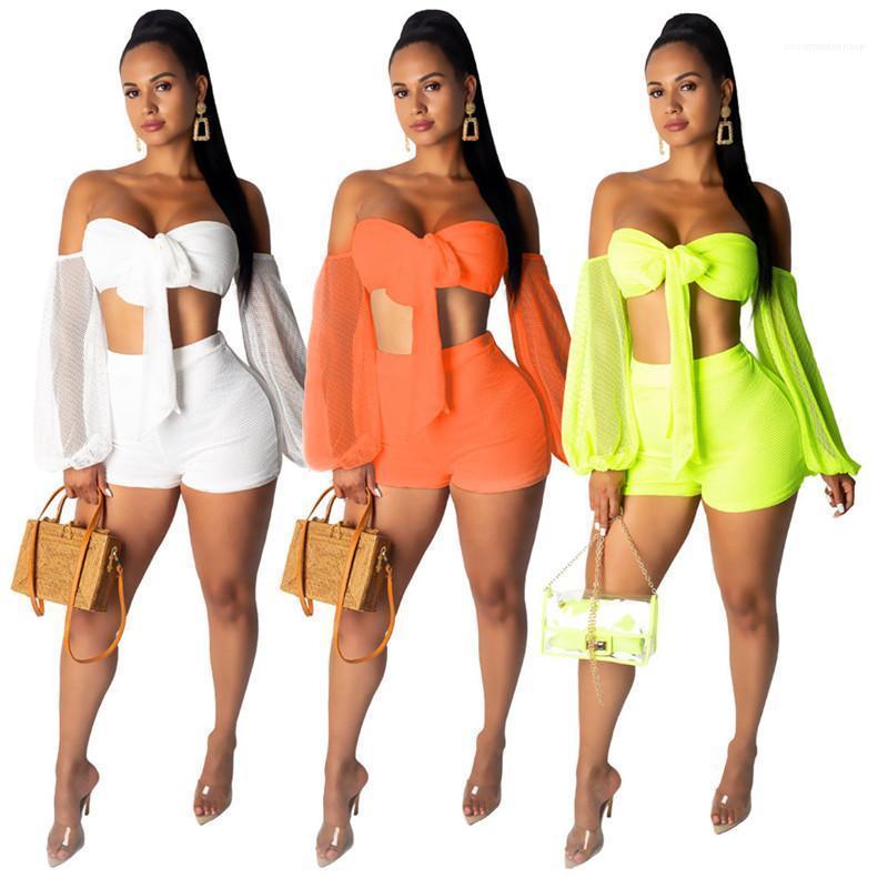 Designer V-Neck caramella tute di colore con Crop Bow manica lunga superiori sexy casuale sopra il ginocchio Pants Womens insieme a due pezzi