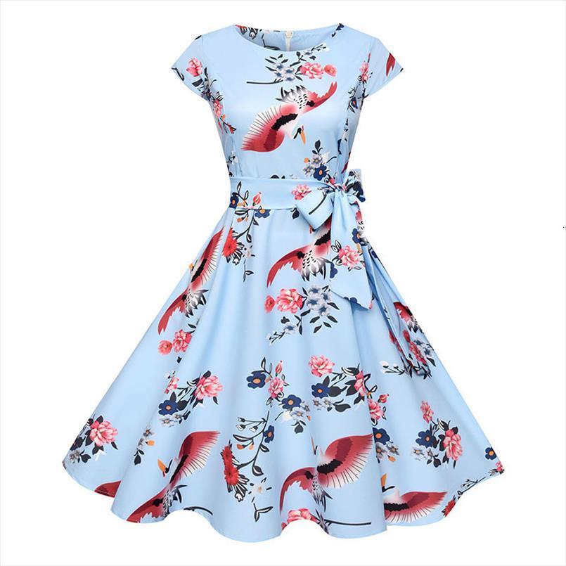Лето Женщины Цветочные платья 50-х годов в стиле ретро Повседневный Элегантный печати O шеи Сторона делопроизводстве платье Rockabilly Vestidos дизайнер одежды
