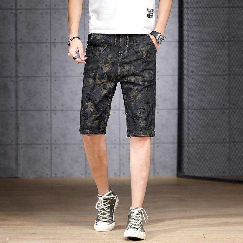 YZq1f été de style short casual mince extensible cinq parties hommes trou coréen tendance mince Capri short décontracté en jean pantalons pantalons masculin