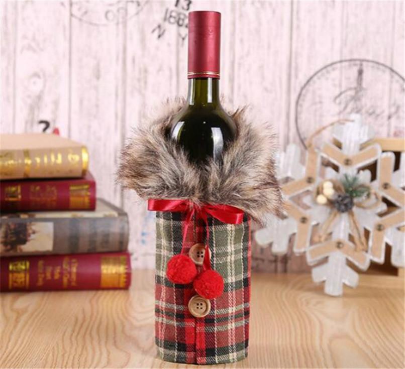 مع الياقة الفراء منقوشة النبيذ غطاء زجاجة المشروبات 2020 عيد الميلاد زجاجة الملابس معطف كم عيد الميلاد حفلة عيد الميلاد الديكور حلية لعب LY927