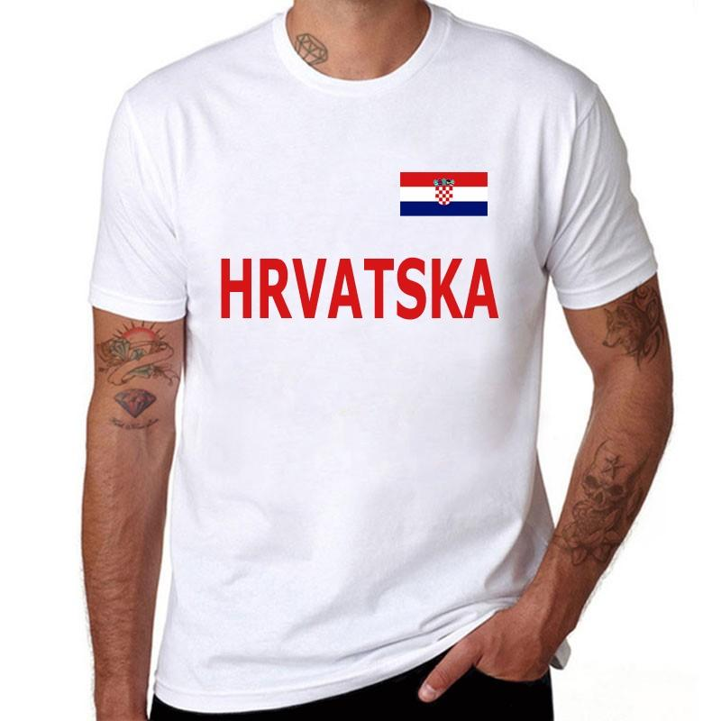 2019 Hommes T-shirt Croatie National fans Cheer à manches courtes T-shirt Homme Coton rond Casual solide col rond T-shirts