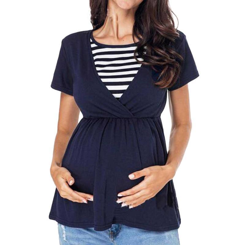 ARLONEET pregnancy t shirt Women Maternity Nursing Tops Patchwork Striped Breastfeeding T-Shirt ropa lactancia mujer 2019
