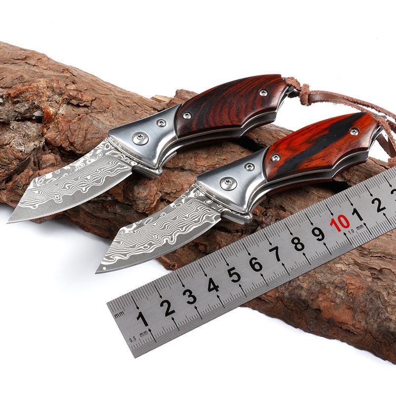 Qualitäts-Mini Palisandergriff scharfe Damastklinge glatte Öffnung schweres Gewicht taktische faltende Taschenmesser Werkzeug