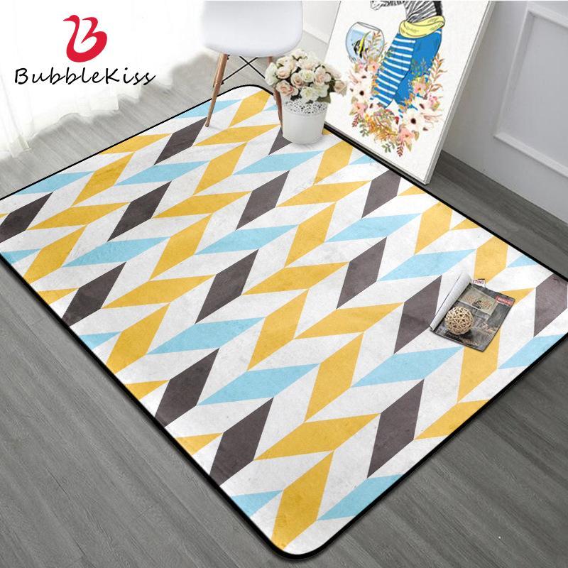 Blase Kuss geometrisches Muster Teppich Nordic Stil Wohnzimmer-Dekoration Teppich Gelb Blau Mosaik Teppich Moderner Kinder-Dekor-Boy Teppich