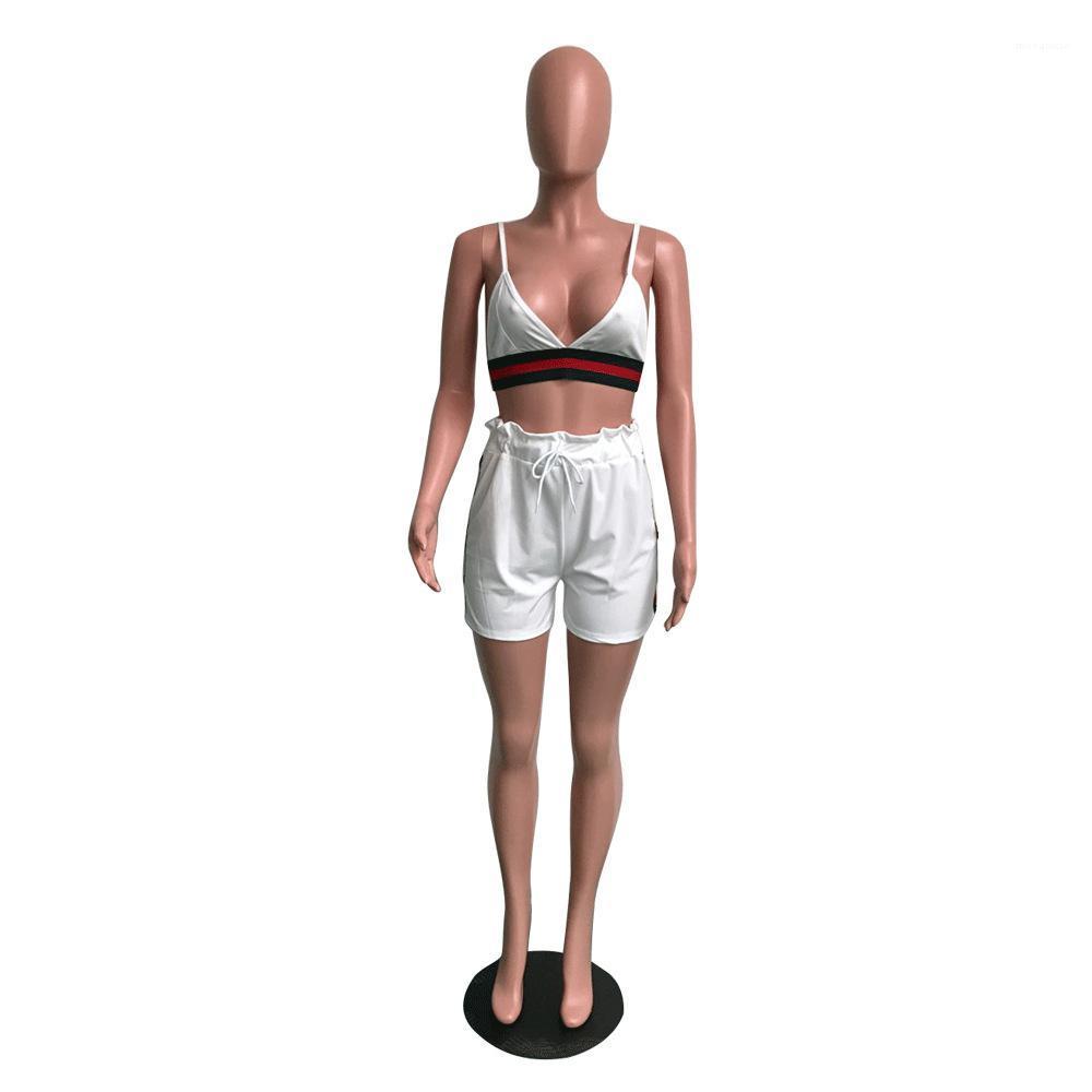 Con pantalones calientes rayados Trajes Cuatro nudos Negro Color Blanco Mujeres chándal nuevo del verano Sexy cuello en V sin mangas
