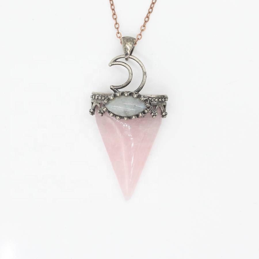 10 piezas en forma de plata al por mayor chapado en Triángulo de cuarzo rosa colgante de cadena de acoplamiento de la joyería de amatista collar de piedra