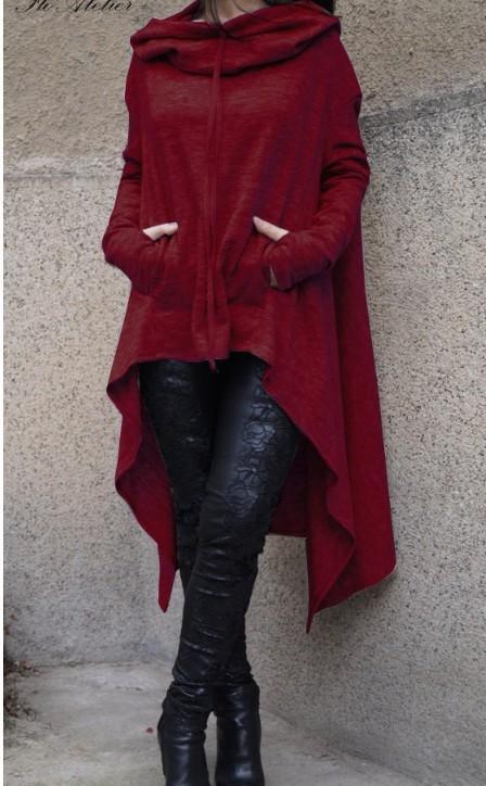 LcAkr 2020 Outono e Inverno nova cor sólida longa com capuz para mulheres 2020 Outono camisola e inverno nova cor sólida comprida camisola com capuz para wo