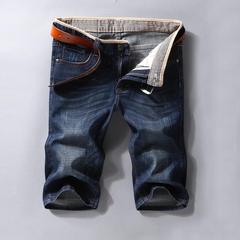 2020 kot pantolon ince iş kot mavi çalışan BQ5VR Kırpılmış erkek ve yaz pantolon düz erkek rahat rahat