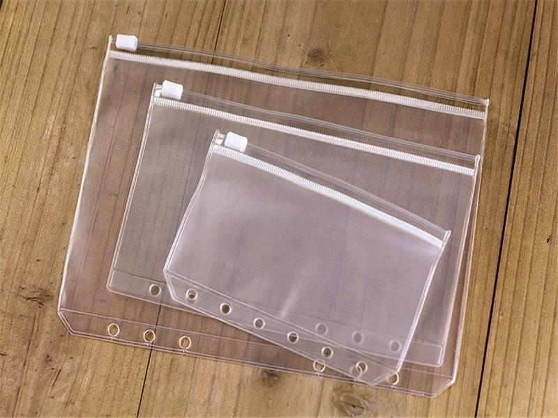 6 trous sac de rangement de réception en vrac feuille A6 sac à fermeture transparent école sac de documents transparent étanche fournisseur A07