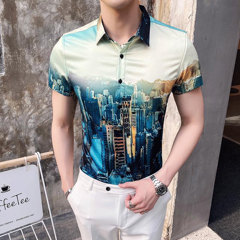 Männer Lässige Hemden Luxus 3dprinting Gedruckt Kurzarm Hemd Männer Straße Sommer Hawaii Beach Nachtclub Harujuku