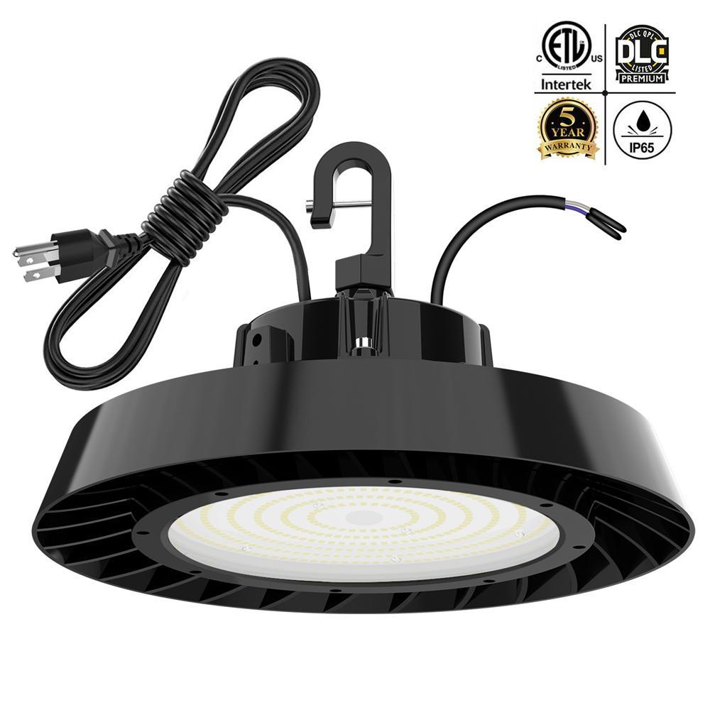 LED العالية خليج ضوء 150W 200W 240W 5000K 1-10V عكس الضوء ETL DLC المعتمدة هوك بقيمة 5 'كابل بديل MH / أضواء HPS