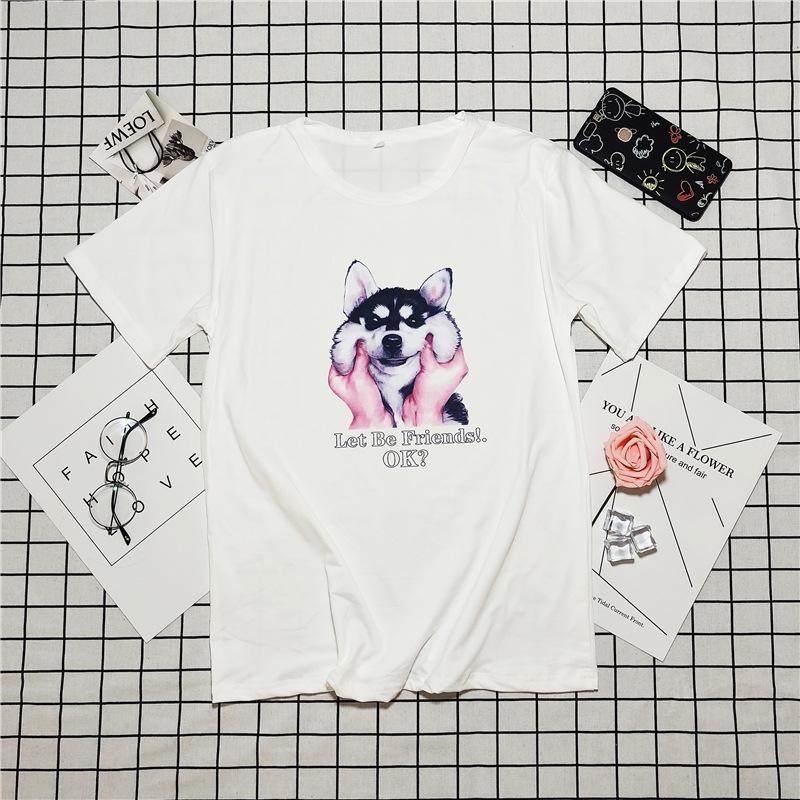 ins allentate delle donne bianca a maniche corte trendy 2020 estate nuovo stile coreano del tutto-fiammifero T-shirt T-shirt Super CEC popolare abiti mezze maniche un