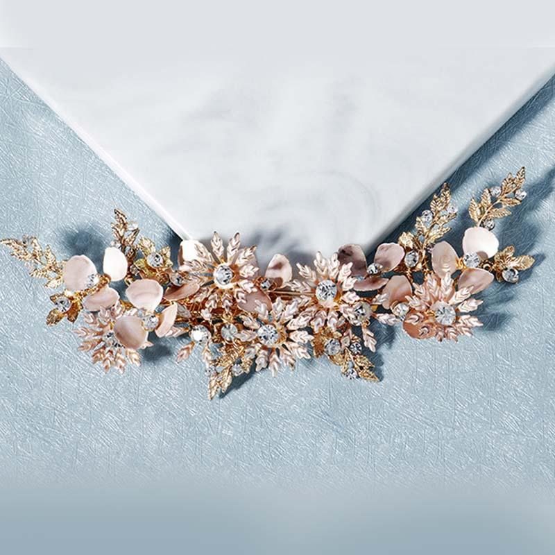 GETNOIVAS Rhinestone Firkete El yapımı Çiçek Yapraklar Saç Klip Gelin Düğün Saç Tutma Headpeice Kafa Aksesuarları SL