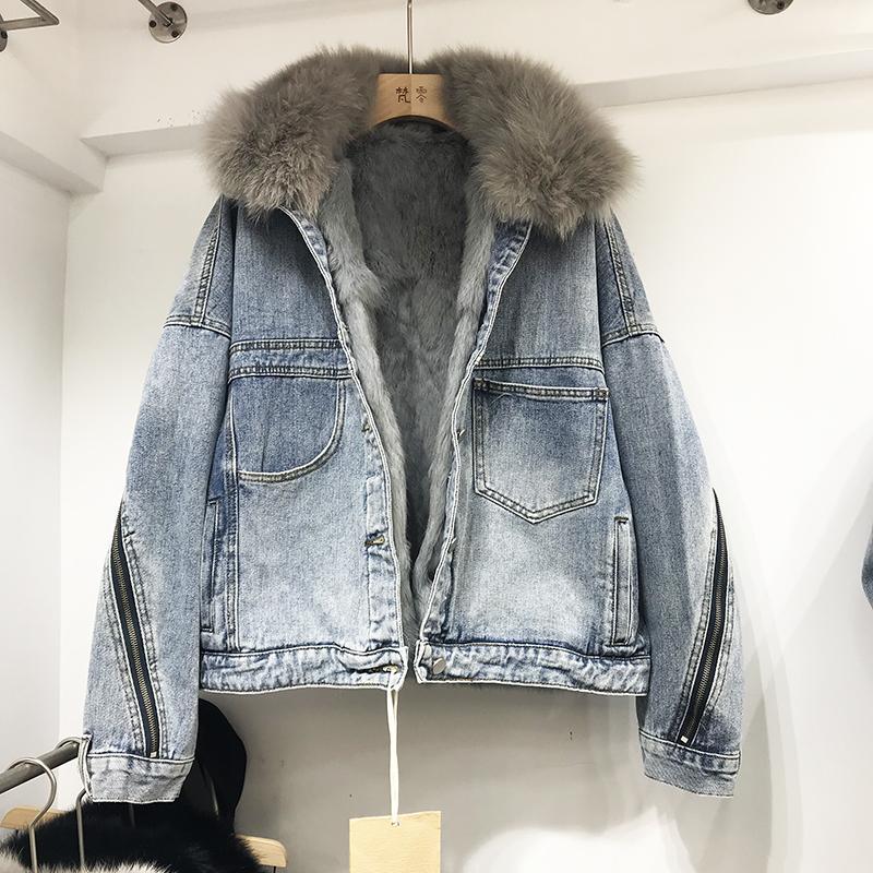 2020 kış ilkbahar tilki kürk yaka ceket kot kalın ceket H0001 CX200811