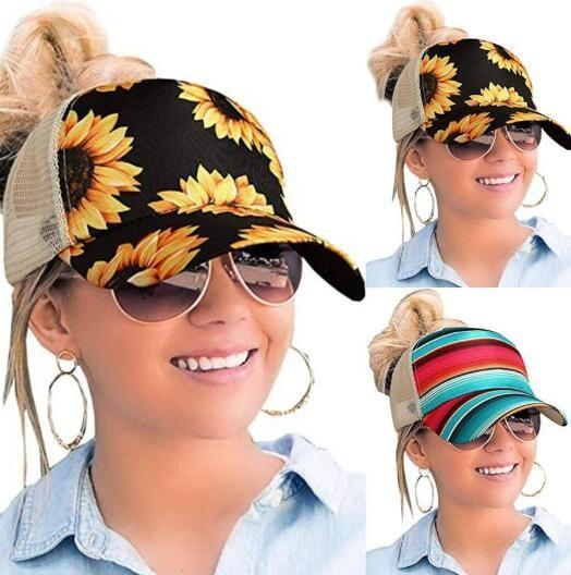Kadınlar Ayçiçeği Beyzbol Şapkası Ayçiçeği Mesh Criss çapraz Hallow Out Beyzbol Şapka Yüksek Dağınık Buns Trucker Ponycaps Baba Şapka Parti Şapkası OOA8336