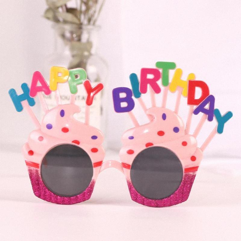 Creative Party fête gâteau Shape Lunettes de soleil Multi Couleurs Daisy drôle Joyeux anniversaire Lunettes Photos Props Supplies Parties Vces #