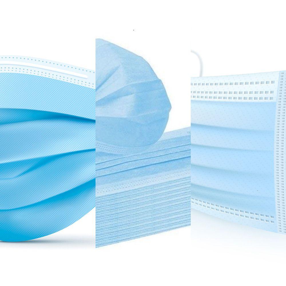 1-100pcs Einweg-Blau Gesichtsmaske 3-Schicht-Vlies mit schmelzgeblasenen Stoffe Masken für Männer und Frauen-50pcs / box LWF16