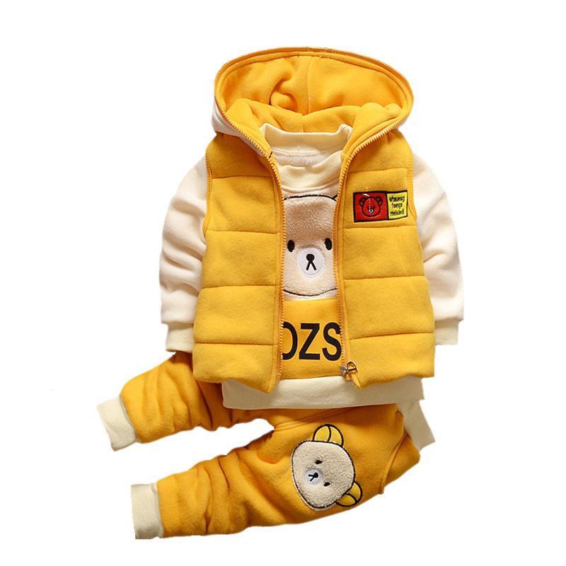 Bébé Garçons Filles chaud Automne Noël GILET + Sweat + bébé Pantalons Enfants Enfants Sport Costume Vêtements tout-petits W168 Y200829