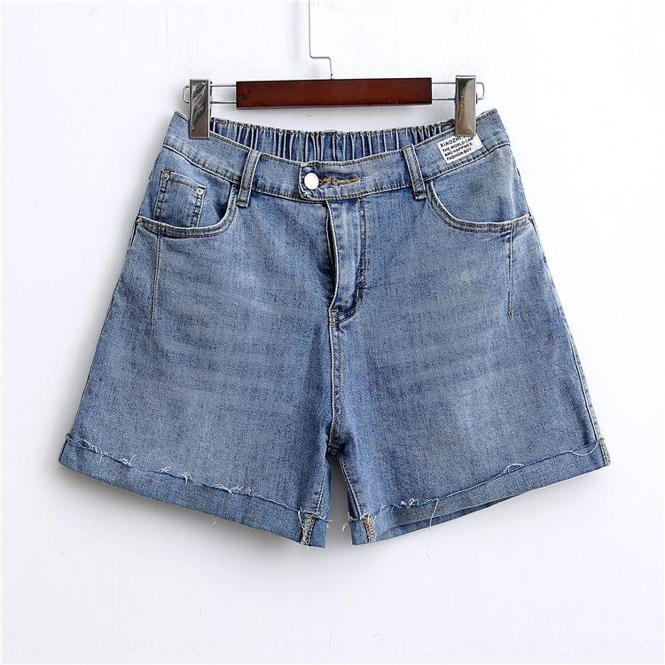 pantalons nq8ov Plump taille plus Shorts chaud denim short 200kg dodus été MM nouvelles simples curling lâche pantalon chaud jambe large 8878