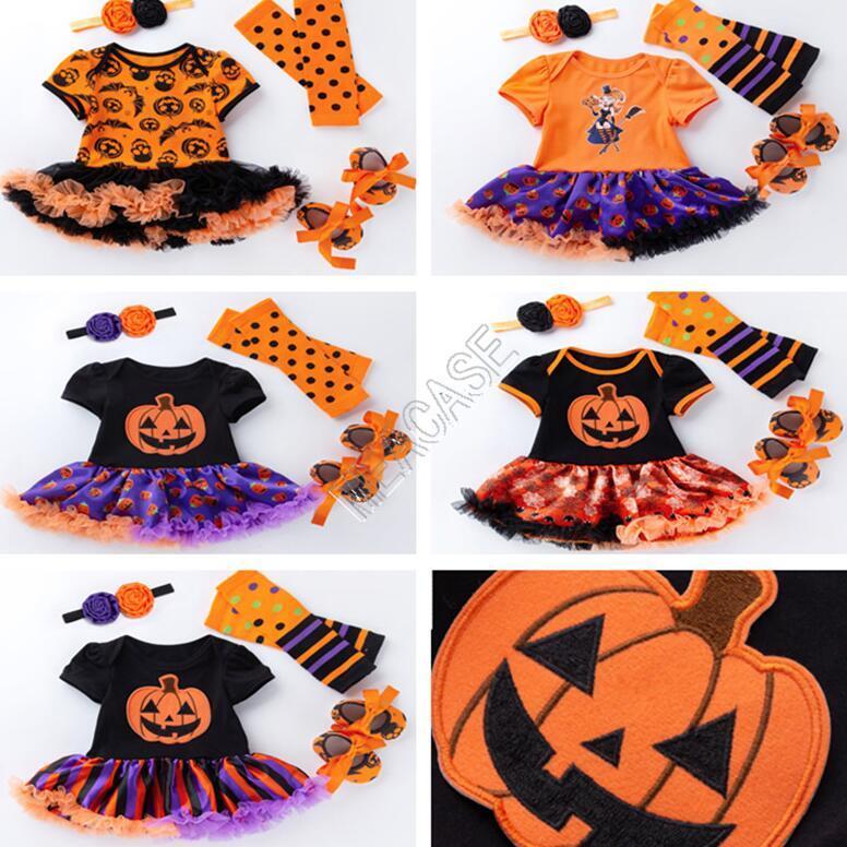 Halloween Baby Girls Clothes Set Rompers TUTU Dress+Headband+Kneepad+Shoes Four-piece Suit Halloween Kids Pots Snow Pumpkin Jumpsuits D82503