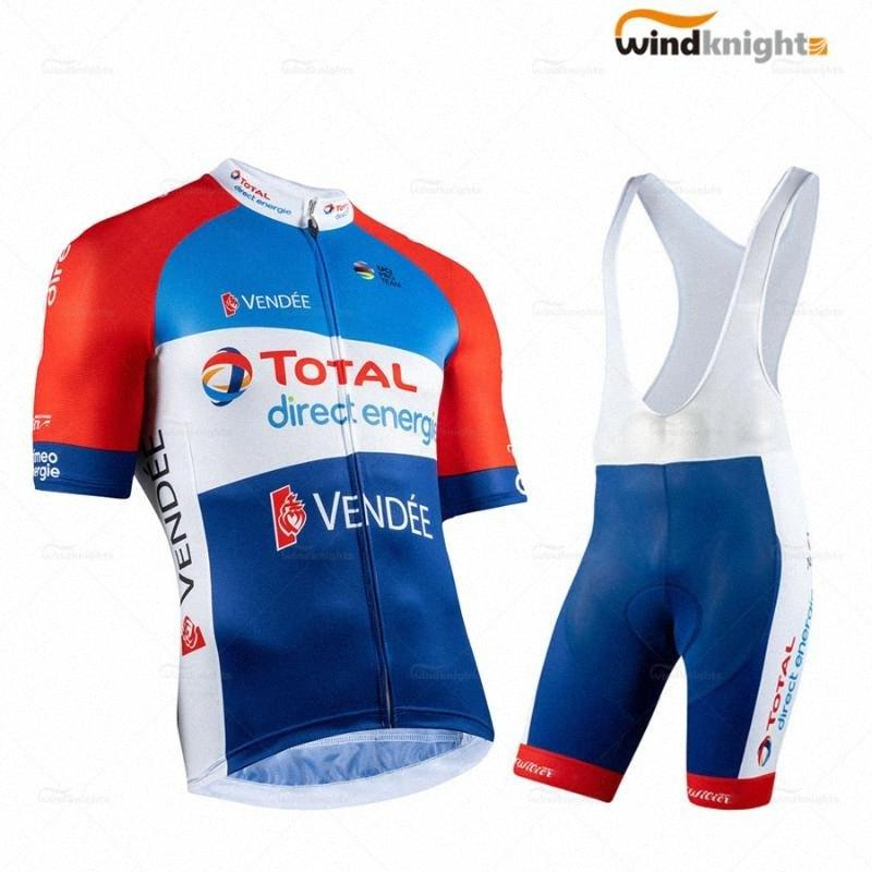 2020 2020 Pro Team TOTAL Direct Energie Hommes Cyclisme Maillot manches courtes Summer Set Bleu Red Road Bike Racing Suit Maillot Homme Velo F jLYi #