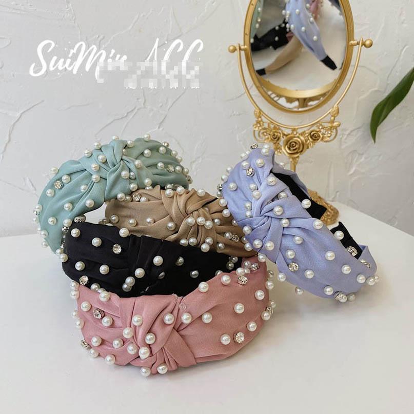 INS mulheres pérola headband Moda varas do cabelo Mulheres bowknot de luxo strass alça meninas de cabelo acessórios para mulheres cabeça bandas B1948