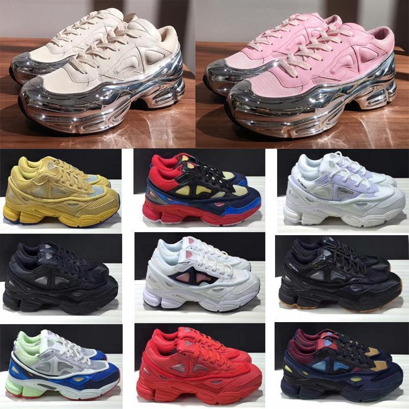 Neue Art und Weise Luxus Originals Raf Simons Ozweego III Sports Männer Frauen Clunky Metallic Silver Sneakers Dorky Größe Freizeitschuhe 36-45 6MyF #