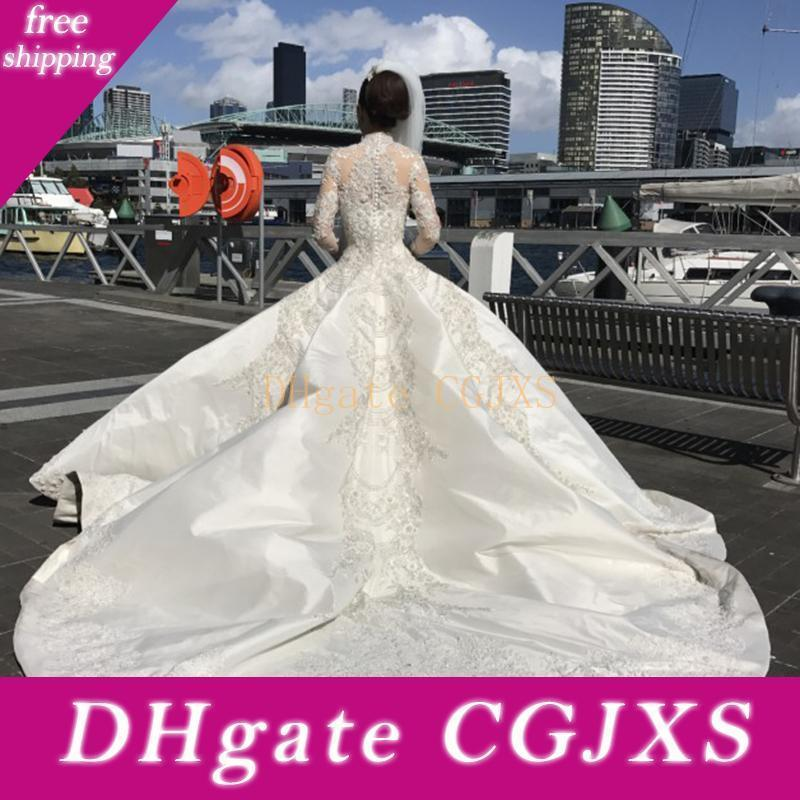 Luxo manga comprida bola vestidos de casamento Vestido de Arábia Árabe Modest frisada Bordados Colarinho alto Catedral Trem longo vestidos de noiva