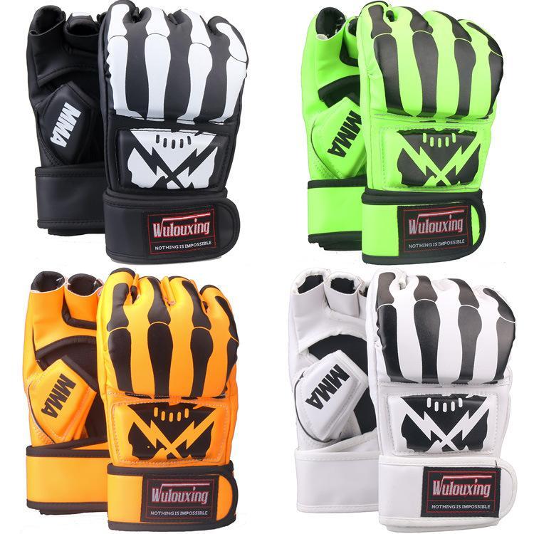 جديد 4 لون نصف اصبع قفاز قفازات الملاكمة ساندا القتال ufc القتال التدريب للبالغين ركلة الملاكمة التدريب التايلاندية قتال مربع قفازات MMA