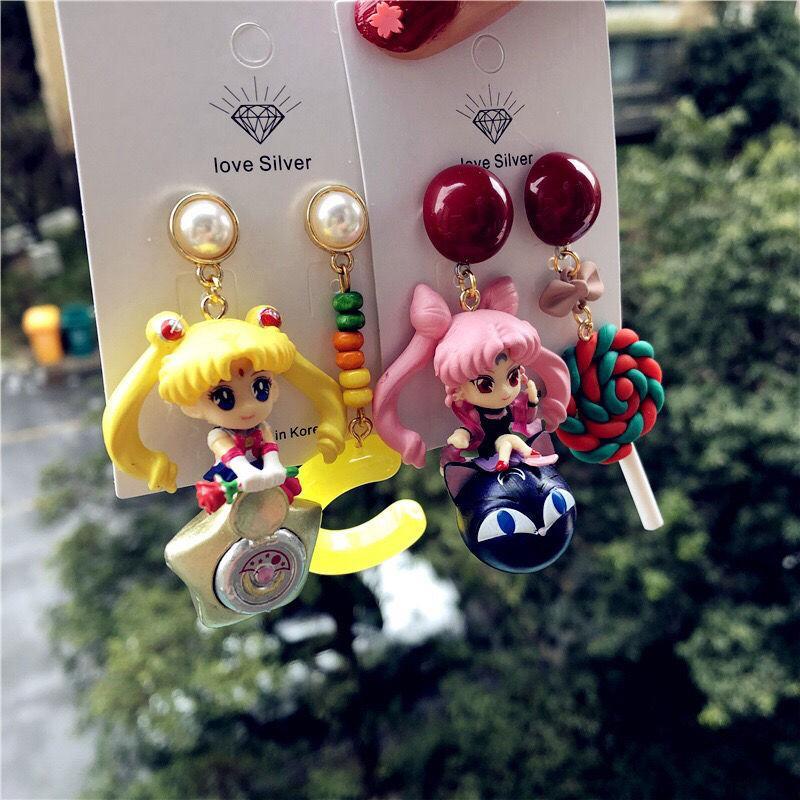 Holzohrringe original handgefertigte Ohrstecker Sailor Wasser Bingyue Asian American Sailor Jupiter Chibi USA Ohrringe Cartoon-Ohr-Bolzen