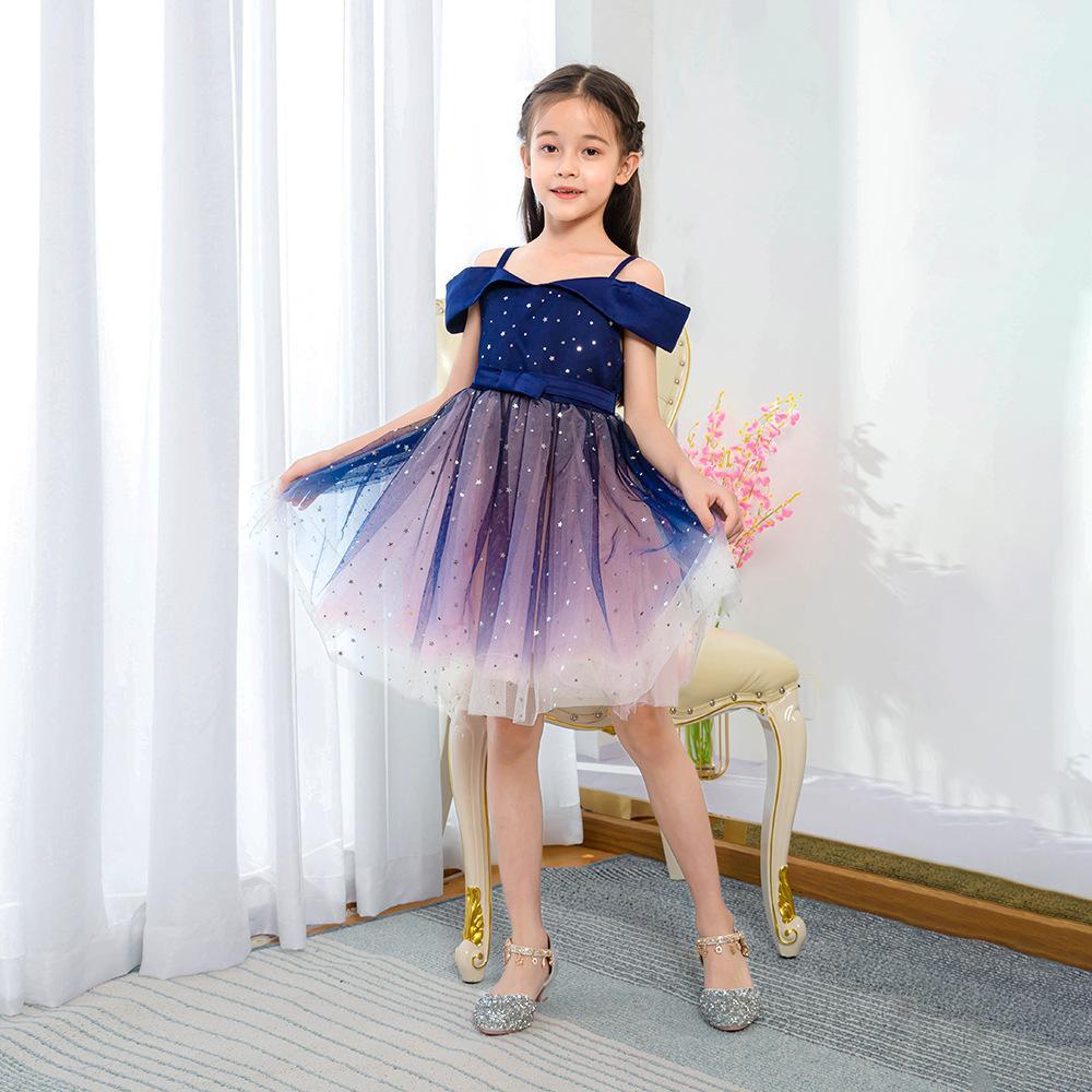 Doce curto Meninas Pageant Dresses Spaghetti comprimento do joelho Glitter Estrelas Sash criança do partido Brithday Flower Girl Dresses vestidos para casamento barato