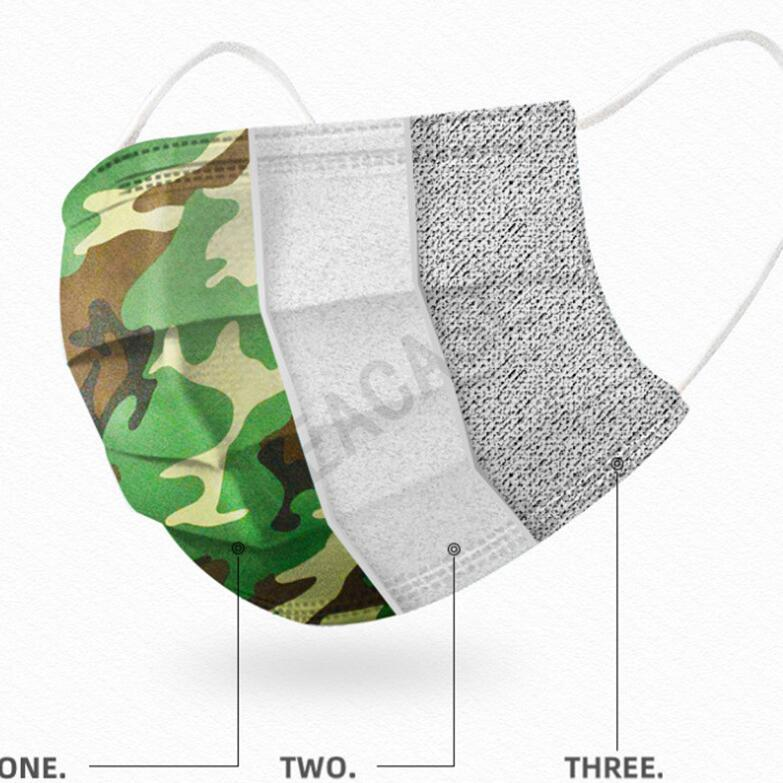 Camo Color Disposable Designer Face Mask Unisex Camouflage Printed Fashion Face Mask Non-woven Fabric Dustproof Mouth-muffle Masks D81006