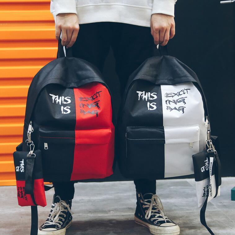 Новый Vogue Повседневный Контраст цвета Рюкзак Student Street Style Canvas Рюкзак мужской Письмо Printed школа сумка с карандаш сумка Бесплатная доставка
