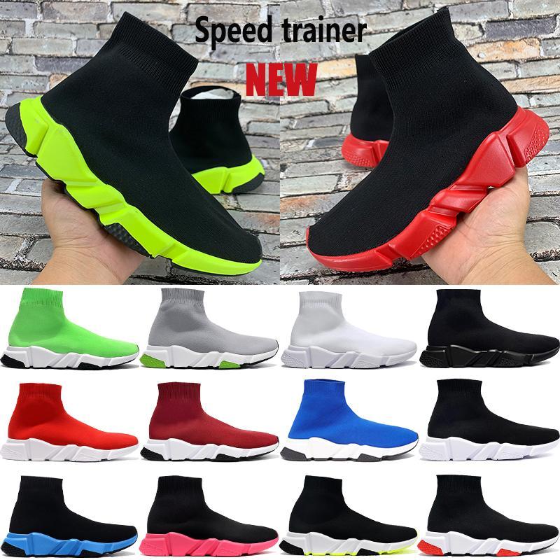 جديد وصول باريس سرعة مدرب حذاء جورب عارضة حمراء الجامعة أخضر أسود أبيض اللون البيج ثلاثية تمتد متماسكة منصة الرجال النساء أحذية رياضية
