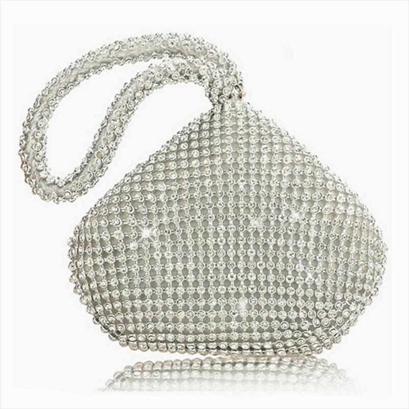 Mulheres Senhoras bolsas de prata bolsa de Cristal Diamante Festa Ladies Evening casamento Clutch Bag Mão Puese POR