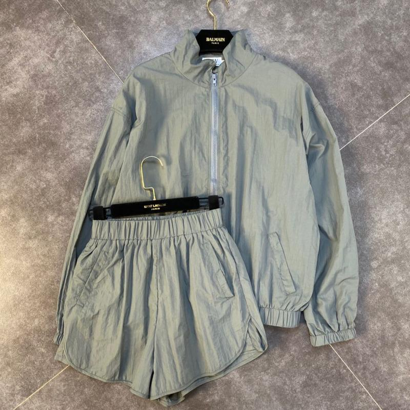 DEAT 2020 Autumn New Long Sleeve Stand Collar Sunscreen Thin Coat Elastic Shorts Two Piece Set Women Outfits MJ989 T200812