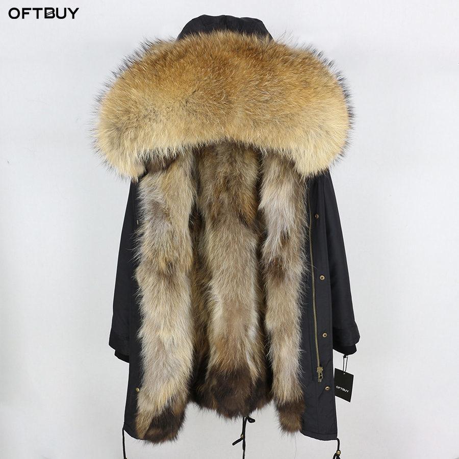 2020 Escudo real chaqueta de piel de invierno las mujeres de largo Parka impermeable grande del mapache cuello de piel natural de la capilla real caliente grueso de piel de zorro Liner CX200817