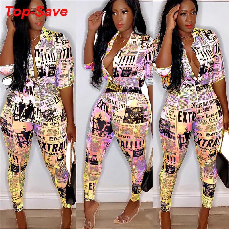 Kadınlar Gazete Baskılı Uzun Kollu İçin Streetwear Doğum Kıyafetler 2019 Yeni Geliş Yüksek Kalite Bandaj Kadınlar Eşleştirme T200810 ayarlar