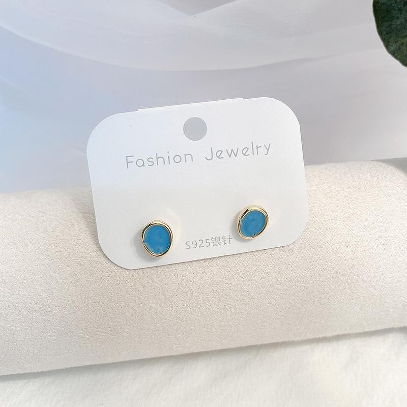 jvAOT coreano Dongdaemun drop e orecchini semplice moda in lega di olio S925 argento ago vita bassa orecchini bianchi per le donne