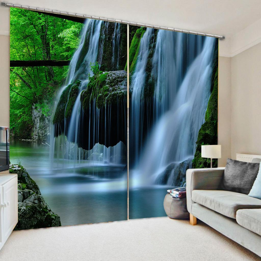 2020 Custom Nature Scenery Waterfall Curtains Bedroom Living Room Windproof Thickening Blackout Curtains 3d Curtain From Yiwu2017 60 Dhgate Com