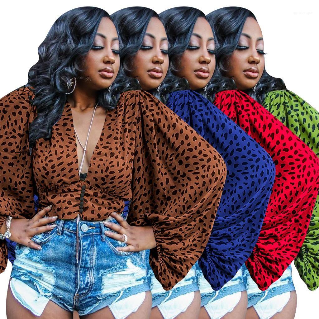 Roupas Femininas Designer Camiseta Primavera-Verão leopardo Dolman luva frouxo Tops Mulher sexy do pescoço V