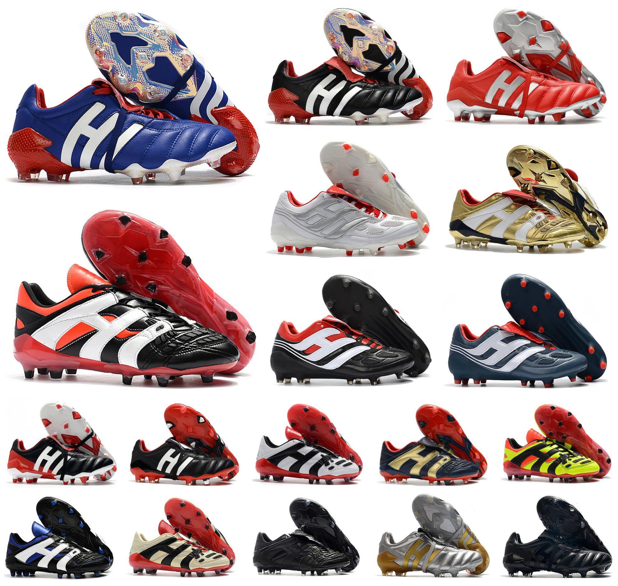 Homens Predator 20 + modificador Mania Tormentor Accelerator Electricidade de precisão 20 + x FG Beckham DB Zidane ZZ chuteiras sapatos de futebol grampos